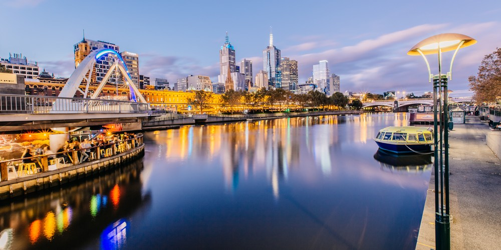 Beautiful Yarra River on the Southbank of Melbourne