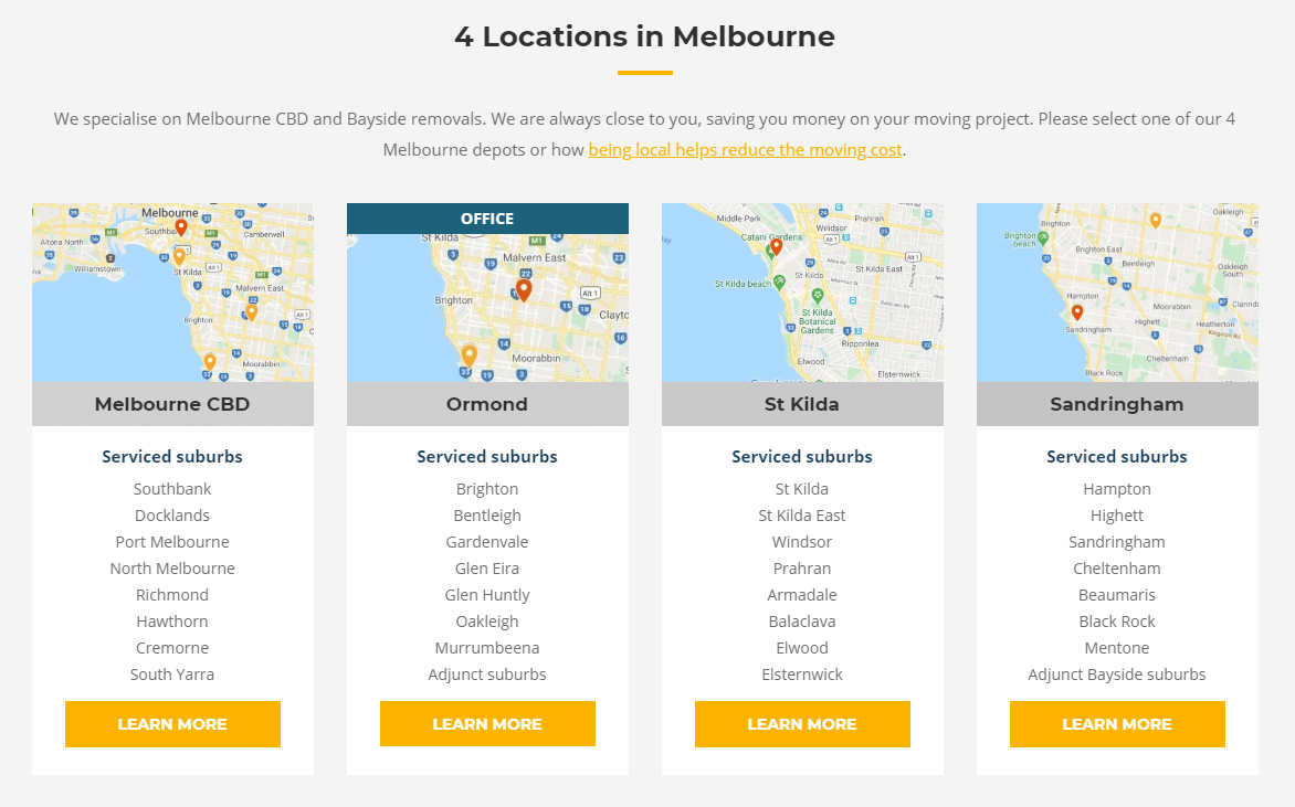 Easy Peasy Removals 4 Melbourne depot locations