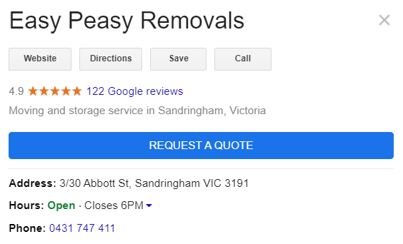 Easy Peasy Removals 122 Google reviews for our Sandringham depot
