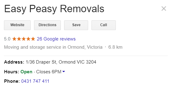 Easy Peasy Removals 5 star rated removal company
